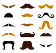 Set of retro colorful Mustaches isolated on white