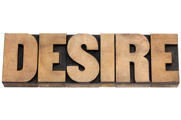 desire word in wood type