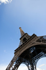 Close-Up view looking up at the Eiffel Tower in Paris, France