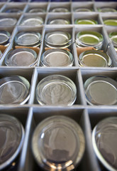 Close-up of glasses in storage box