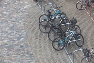 Bicycles chained up to railings