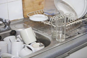 Washing-up in office kitchen sink