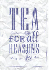 Poster Tea For all Reasons blue pen