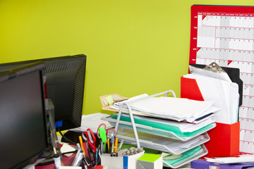 Close-up of real life messy office