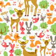 Cute childish seamless pattern with wild animals
