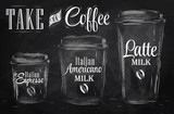 Set of Coffee drinking cup sizes in vintage chalk