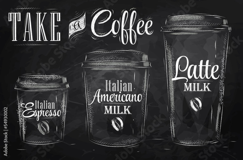 Set of Coffee drinking cup sizes in vintage chalk © anna42f