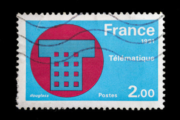 French postage stamp - Telematique