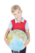 Little boy with a globe