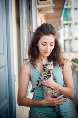 beautiful woman with cats