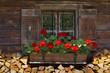 canvas print picture - Fenster einer Almhütte mit Geranien und Holz