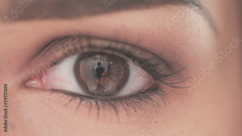Close Up Shoot on Eye of Young Woman With Natural Makeup