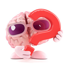 Brain holds a question mark