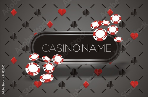 casino banner with playing card background