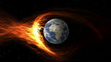CGI earth getting hit by solar flare poster