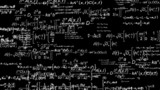 Camera flies through Scientific equations pure black