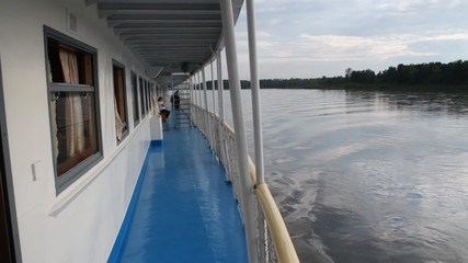 Passenger ship on river.