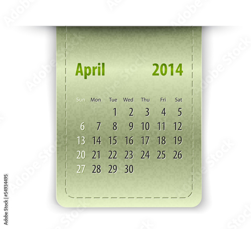 Glossy calendar for april 2014 on leather texture. Sundays first