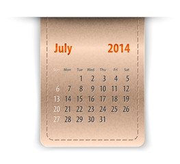Glossy calendar for july 2014 on leather texture. Sundays first
