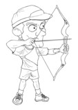Outline illustration of an archer aiming with bow