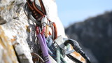belaying through auto-locking belay device , tight shot