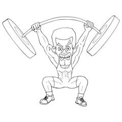 Outline illustration of a weightlifter