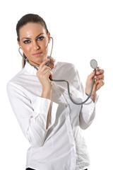 Stetoskop tutan bayan doktor hemşire