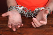 Prisoner in handcuffs close-up