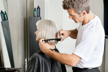 Hairdresser Examining Hair Length Of Client