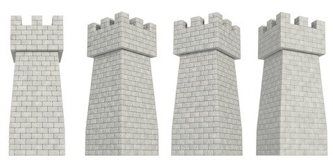 stone tower on a white background