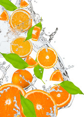 Fresh oranges falling in water splash, isolated