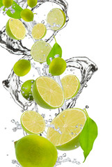 Fresh  lime  falling in water splash