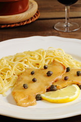 Chicken piccata with pasta