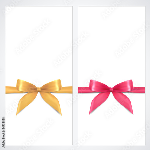 Gift certificate / Voucher / Coupon template.Gold bow (ribbons)
