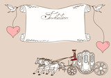 Invitation or card with horse carriage