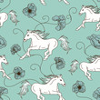 Seamless pattern of racing horses and flowers