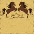 Invitation with two horses rearing up
