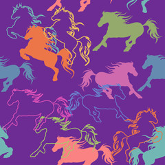 Seamless pattern of racing horses