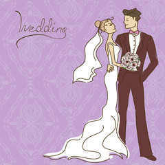 Wedding invitation or card with couple