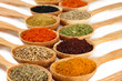 Assortment of spices in wooden spoons