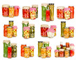 Set of canned vegetables