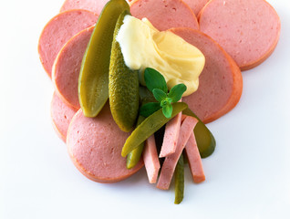 Bologna and gherkins