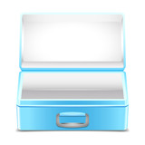 Empty blue lunch box on white background poster