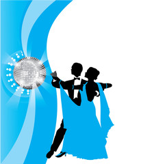 blue background with dancing couple