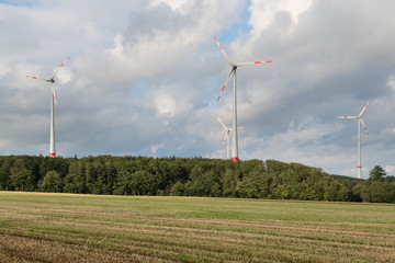 Agriculture landscape with wind turbines in Germany