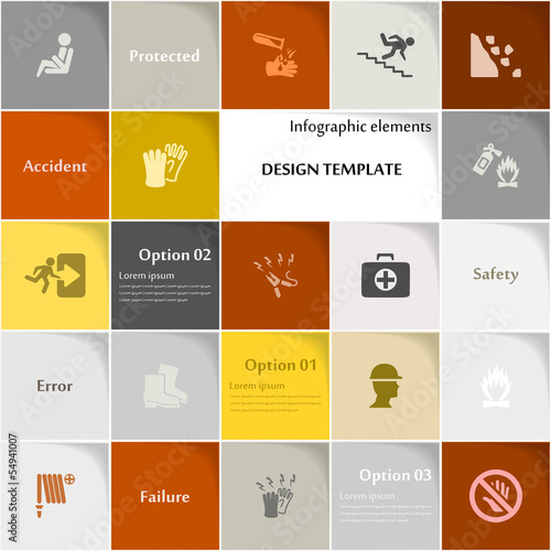 Safety icon set vector abstract background