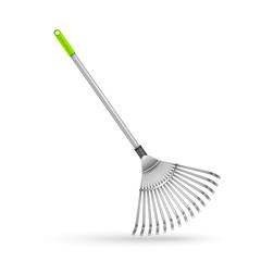 Garden rake, isolated on white background.