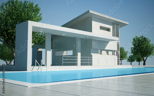 Modern villa day view