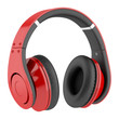 red and black wireless headphones isolated on white background - 54941667
