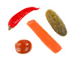 Pickled vegetables on white background